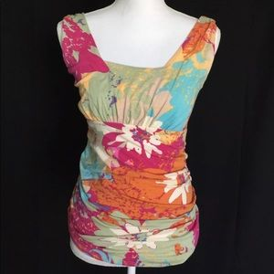 Cabi Pink Blue Beige Purple Floral Ruched Tank